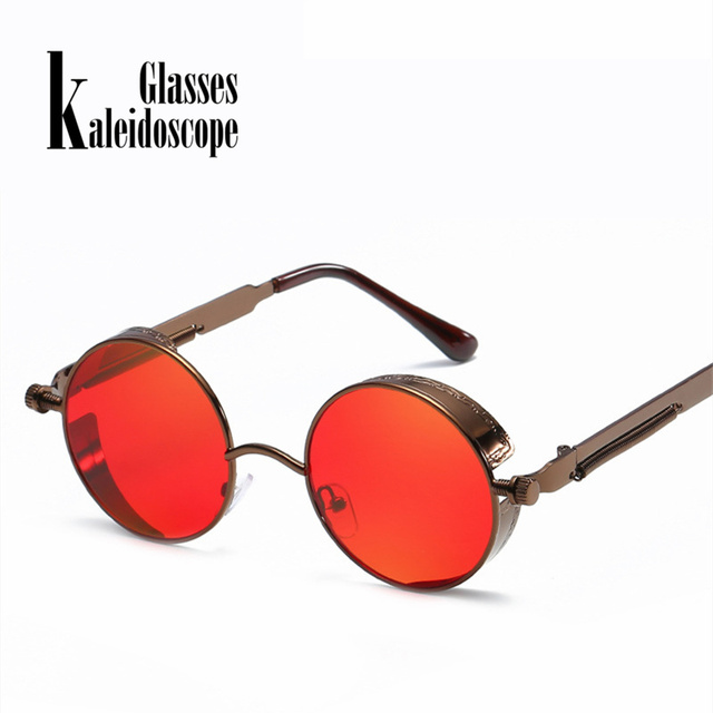 5f64969e58c5c New Round Frame Steampunk Sunglasses Metal Trend Spring Temple Eyeglasses  Retro Punk Gothic Style Sun glasses
