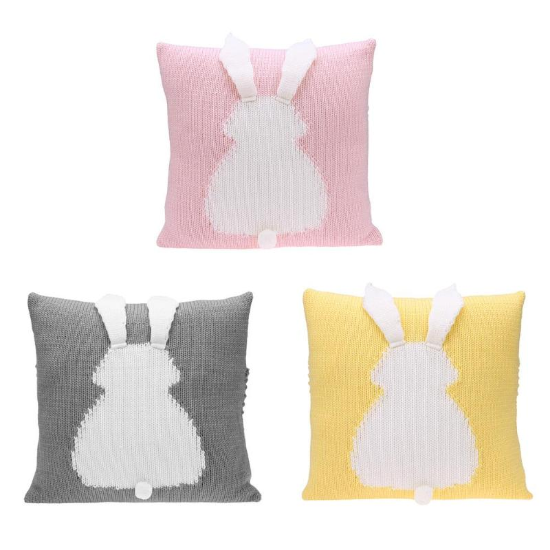 Lovely Cartoon 3D Rabbit Kids Chair Seat Cushion Cover Baby Knitted Sofa Bed Decorative Pillowcase Photography Props