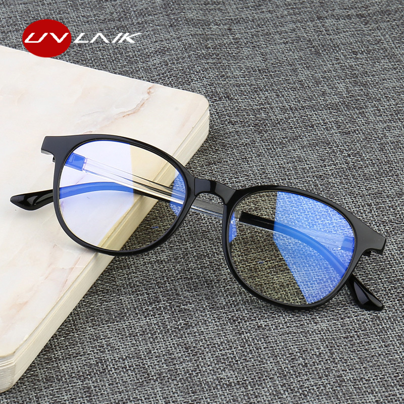UVLAIK Anti Blue Light Glasses Frame Women Eye Protection Anti Radiation  Eyeglasses Men Anti Blue Rays No Degree Flat Glasses