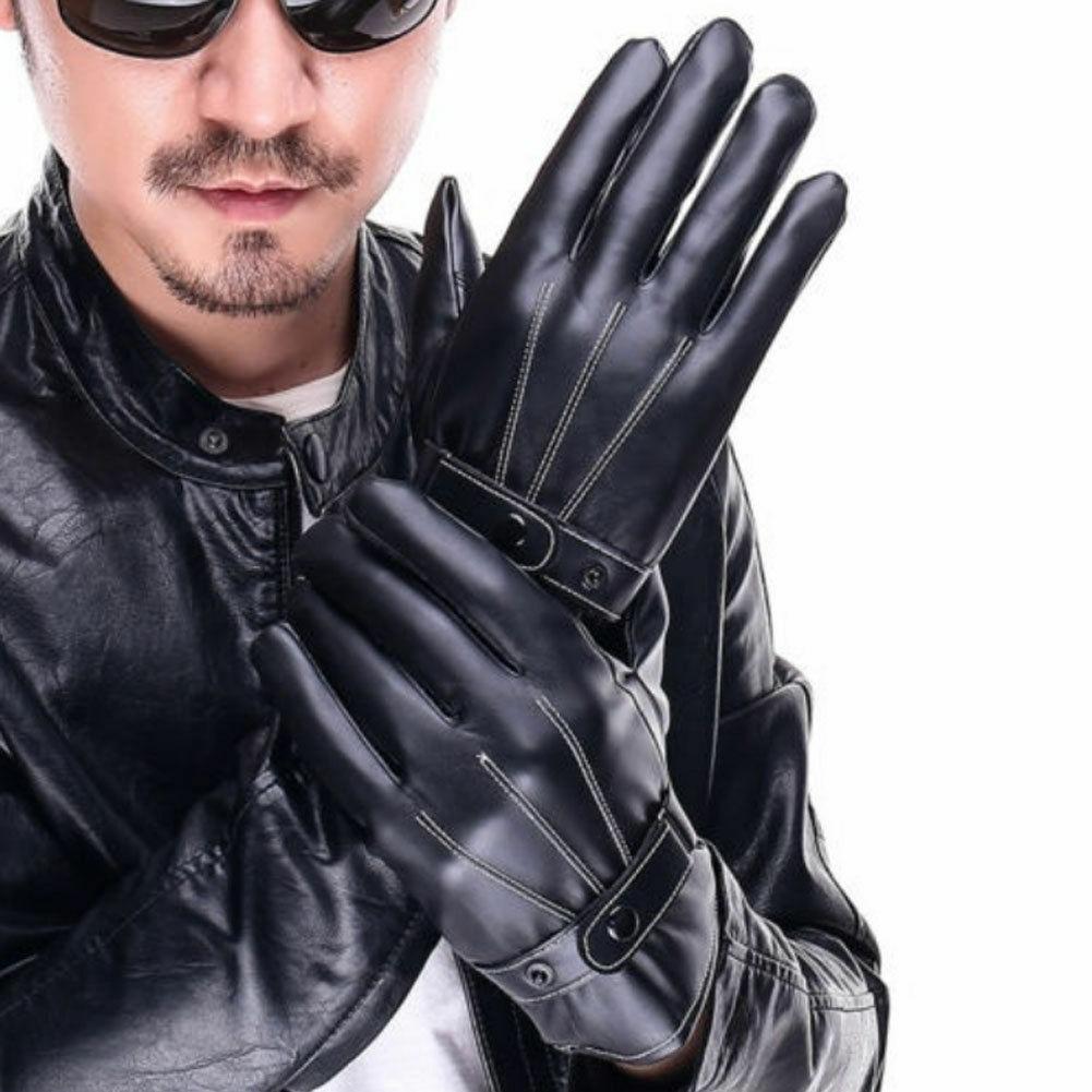 Mode Männer Winter Leder Motorrad Voll Finger Touch Screen Warme Handschuhe