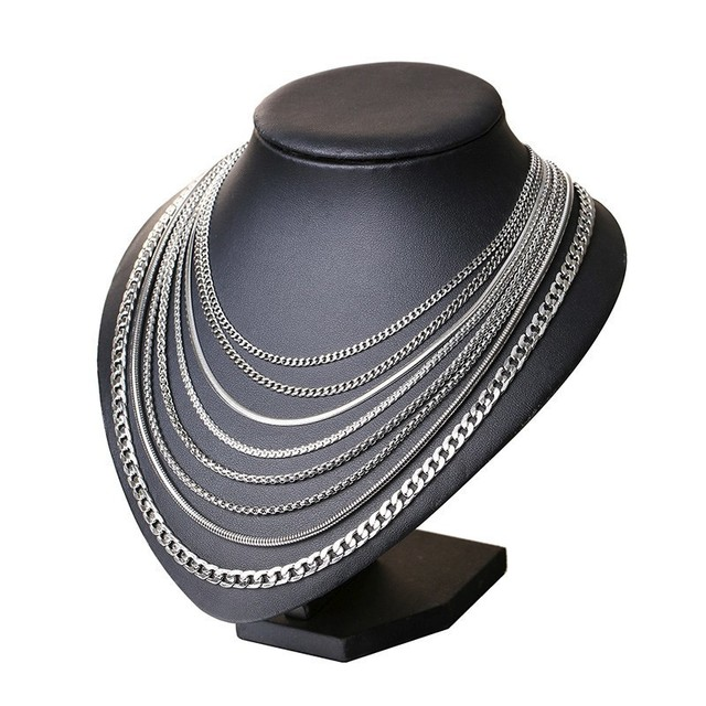 Vnox 3-6MM Silver Tone Snake Cocoon Curb Link Flat Box Wheat Chains Stainless Steel Men Necklace Choker Jewelry 24 inch 3