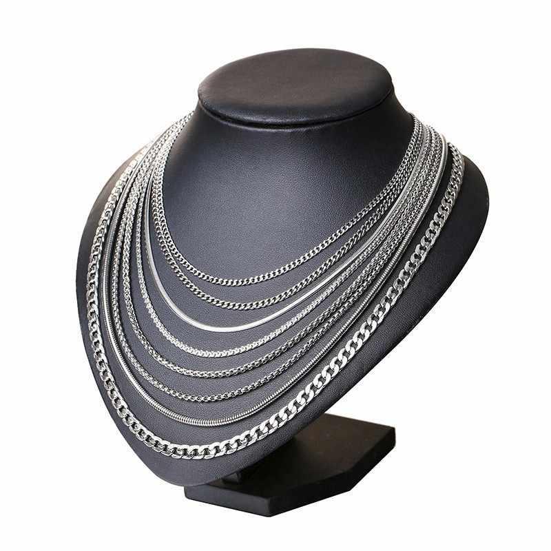 Vnox 3-6MM srebrny Tone wąż kokon Curb Link płaskie pudełko łańcuchy pszenicy ze stali nierdzewnej mężczyzn naszyjnik Choker biżuteria 24 inch
