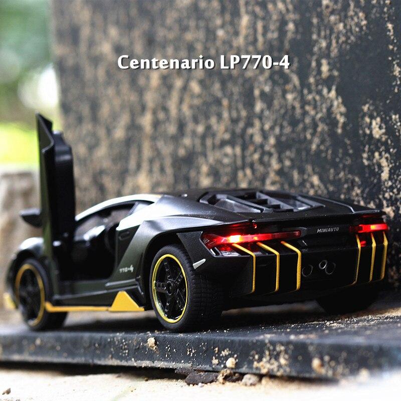 LP770 1:32 Lamborghini de aleación de coche deportivo modelo fundición sonido luz Super coche de carreras de cola caliente rueda para los niños