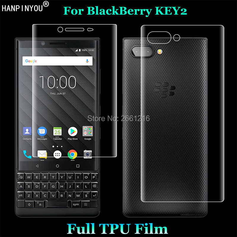 """For BlackBerry Key2 Key 2 / Athena 4.5"""" 2 Pcs = Front + Back Slim Full Cover Soft TPU Film Explosion-proof Screen Protector(China)"""