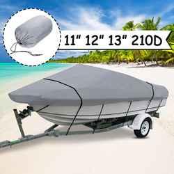 Серый V-Hull Fish-Ski Trailerable лодка Крышка водостойкая Рыбалка Лыжный бас для катера 390X270 см