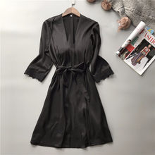 Cotton Bath Robe Sexy Women Black Robe Long Sleeve Lace Ruffles Dressing Gown+Waist Belt Bride Wedding Nightwear Sleepwear(China)