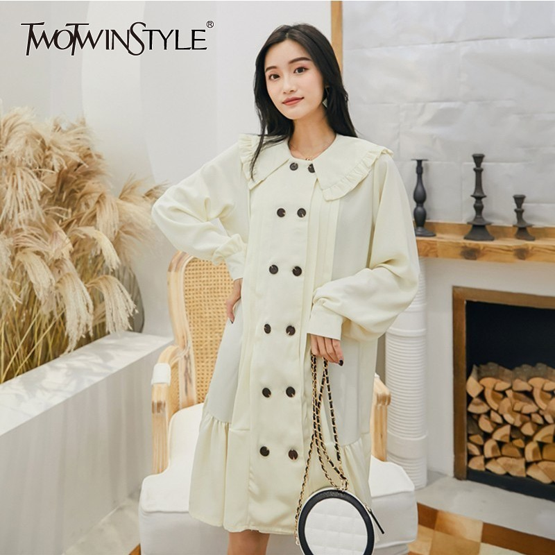 be4ea55c425 Detail Feedback Questions about TWOTWINSTYLE Korean Dress Female Peter Pan  Collar Long Sleeve Patchwork Ruffle Hem Dresses Women 2019 Spring Fashion  Clothes ...