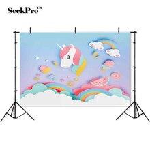 thin vinyl birthday unicorn rainbow children baby photo Backgrounds Printed Professional indoor Photographic studio Backdrops