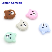 Lemon Comeon 5PCS Mini Bear Silicone Beads Baby Teether BPA Free DIY Necklace Pacifier Chain Teething Care Infant Product