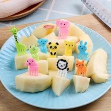 10 unidades/pacote bonito animal fazenda garfo de frutas bento almoços palito mini lanche sobremesa comida forquilha para crianças almoços festa decoração