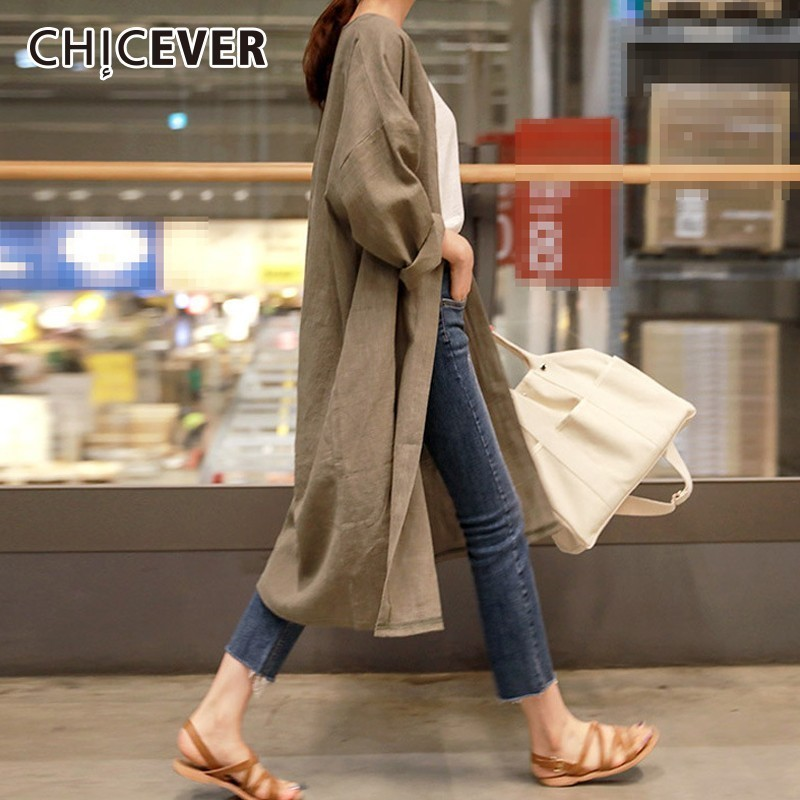 CHICEVER Autumn Linen Trench Coat For Women's Windbreaker Cardigans Long Sleeve Casual Loose Oversize Windbreakers Fashion New