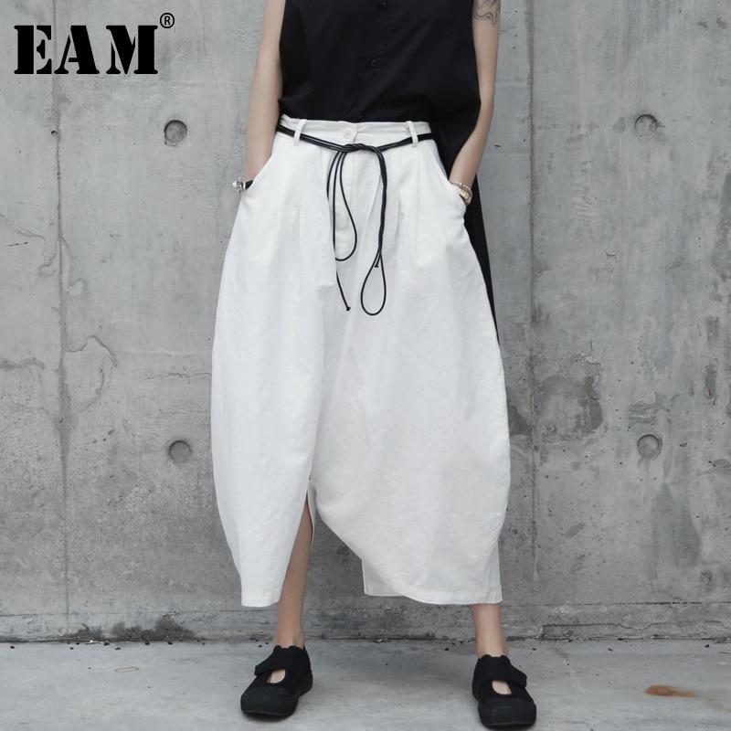 [EAM] 2019 New Spring Summer High Elastic Waist White Loose Big Size Loose   Wide     Leg     Pants   Women Trousers Fashion Tide JR505