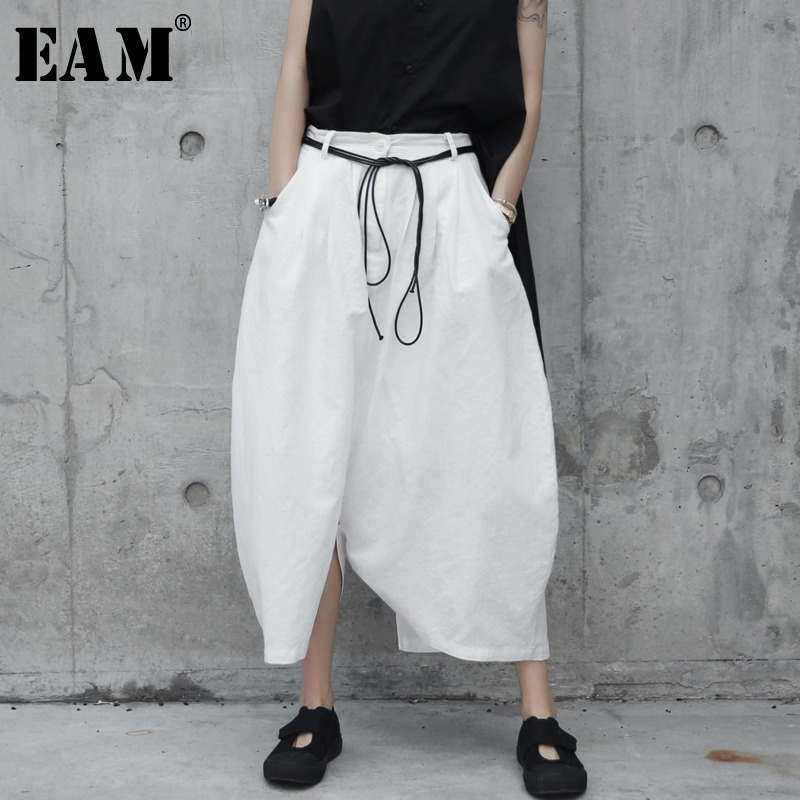[EAM] 2020 New Spring Autumn High Waist Drawstring White Loose Big Size Loose Wide Leg Pants Women Trousers Fashion Tide JR505