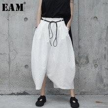 [EAM] 2019 New Autumn Winter High Waist Drawstring White Loo