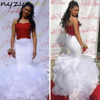NYZY P21 Mermaid Prom Dress Red and White Organza Ruffles Formal Dress Party Dress vestido longo
