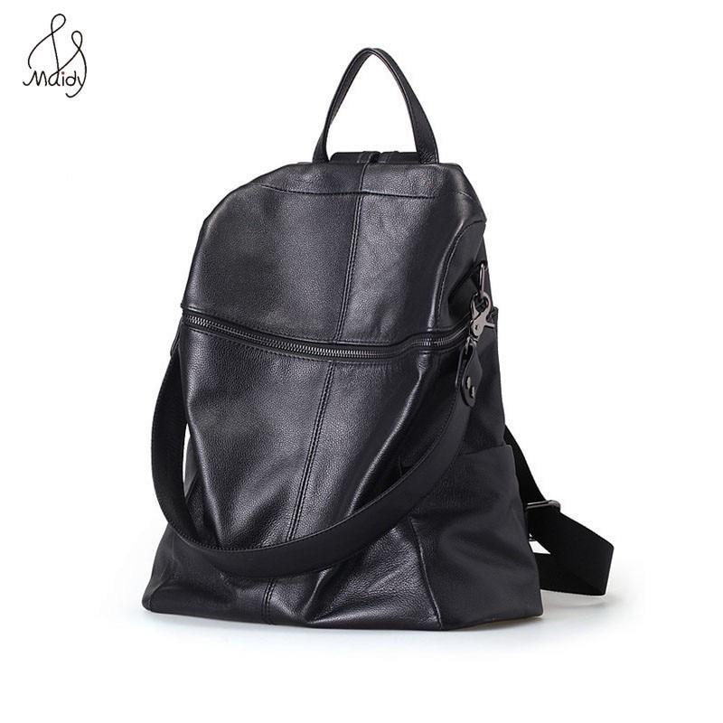 где купить Fashion Women Genuine Cow Leather Bag Multifunction Black Backpack School Shoulder Backpacks Mochila Bags High Quality Maidy по лучшей цене