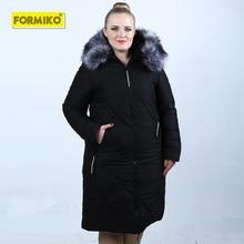 Formiko Women Plus Size thicken parka 4XL 5XL 6XL 7XL Hooded fur Collar coat winter slim warm Long Down Cotton Padded Jacket цена в Москве и Питере