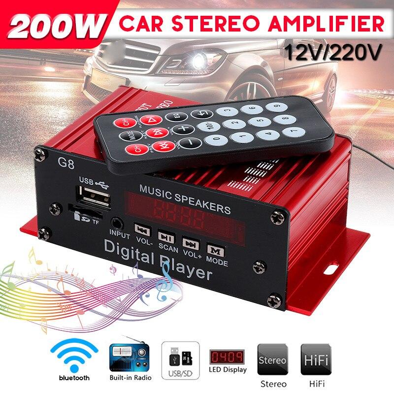 Mini amplificateur de voiture 200 W 12 V G8 HIFI amplificateur de puissance Audio bluetooth stéréo voitures amplificateurs de théâtre Radio FM 2CH USB/TF/AUX