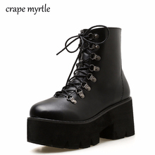 96f38d19fc0e lace up punk boots women ladies platform boots High Heel winter shoes  motorcycle Ankle Boots waterproof