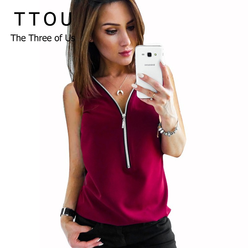 TTOU Women Sleeveless Chiffon   Blouse   Summer Elegant Solid V-Neck Zipper   Blouse     Shirt   Loose Casual Tops Blusas Camisas Mujer Plus