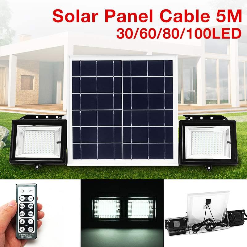 2 pièces télécommande 100 LED lumière d'inondation solaire alimenté Dimmable minuterie étanche lumière solaire réverbère projecteur