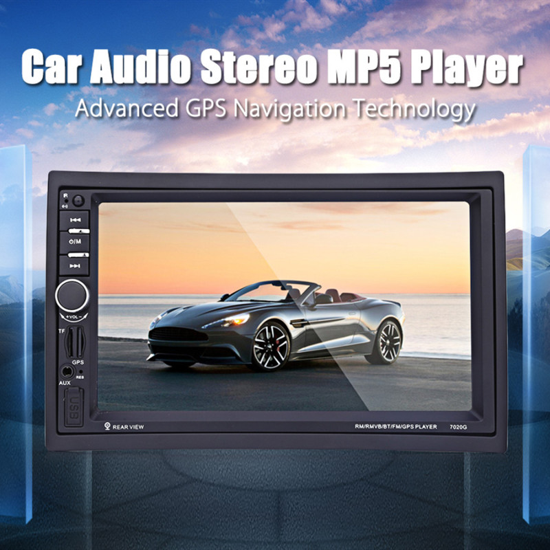 <font><b>7020G</b></font> 7 Inch 1080P Car Audio Stereo MP5 Player 2 Din Car Multimedia Player Bluetooth GPS Navigation Free Maps Remote Control image