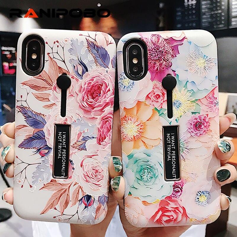 Роза Пион цветок мягкий силиконовый кольцо держатель чехол для iPhone X XS XR XS Max 6 s 7 8 плюс Винтаж скрыть Стенд задняя крышка