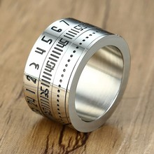 14MM Wide Mens Arabic Numerals Time Spinner Rings in Stainle