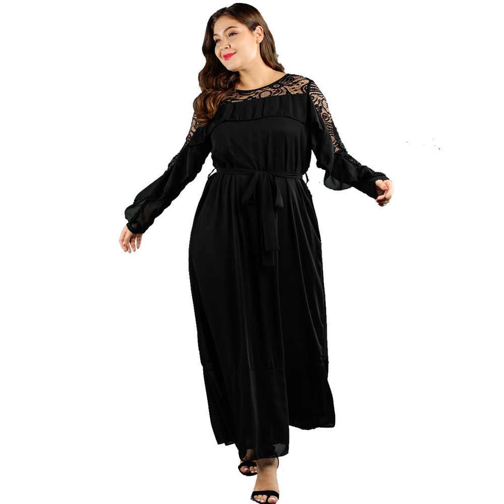 Wisalo женское кружевное Макси-Платье С Рюшами больших размеров, с круглым вырезом, с длинными рукавами, облегающее и расклешенное однотонное Повседневное платье, весеннее платье, Vestidos