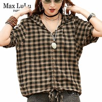 Max LuLu 2019 Summer Fashion Korean Style Girls Tops And Blouses Women Vintage Plaid Shirts Hooded Female Causal Vintage Clothes