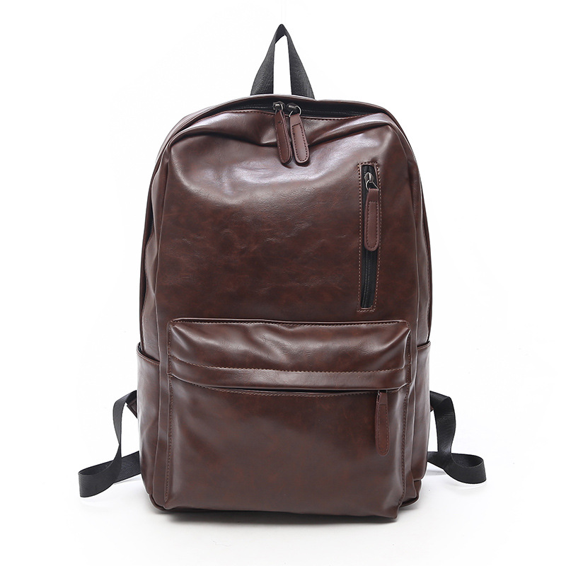 Men Backpack PU Leather Waterproof Backpack Fashion Travel Bag Casual School Bag For Teenagers Large Laptop Backpack Mochila in Backpacks from Luggage Bags