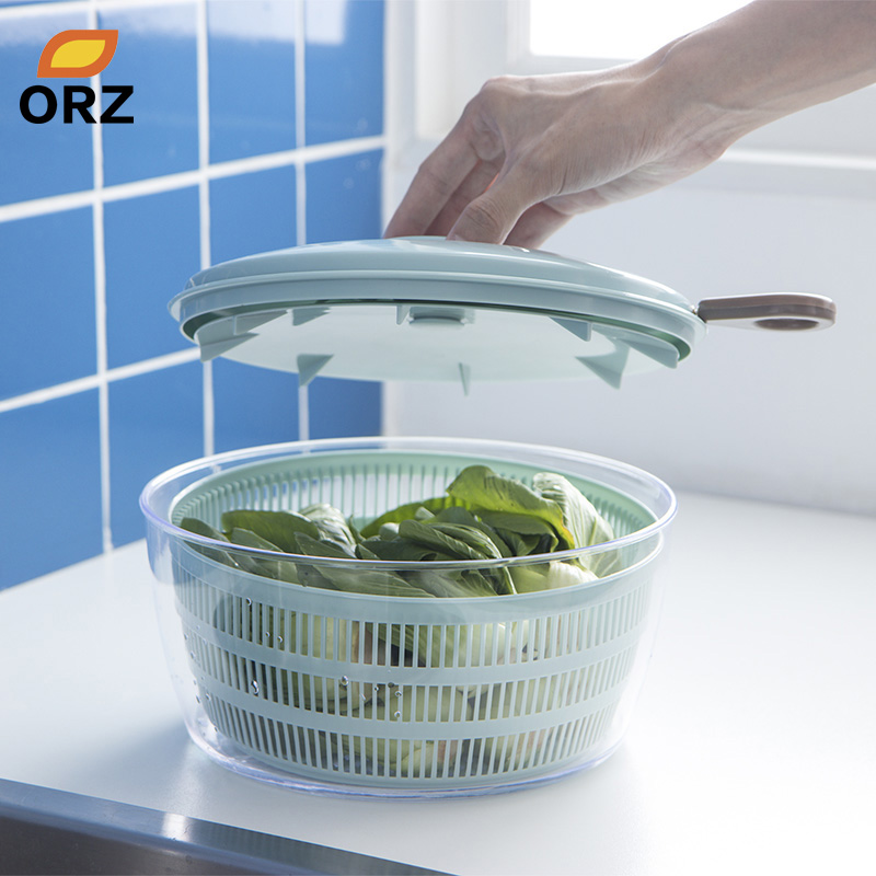 ORZ Easy Spin Salad Spinner Kitchen Acccessories Vegetables Dehydrator Dryer Fruit Colander Basket Kitchen Gadgets Salad Tools image