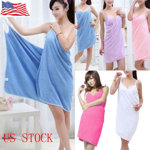 US Creative Bath Wearable Towel Dress Girls Women Lady Fast Drying Beach Spa