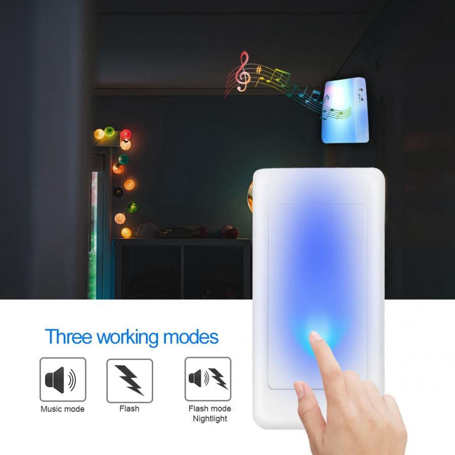Video Doorbell 7 Color Lights Flash + Music Doorbell Home Wireless Elderly/Deaf Men Door Bell motion Sensor Bell Translucent
