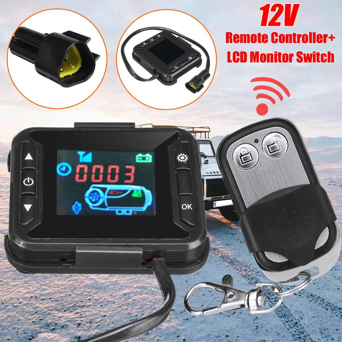 12V Car Heater LCD Minitor Switch + Remote Controller for Truck Motorhome Diesels Parking Heater Parts Car Accessories