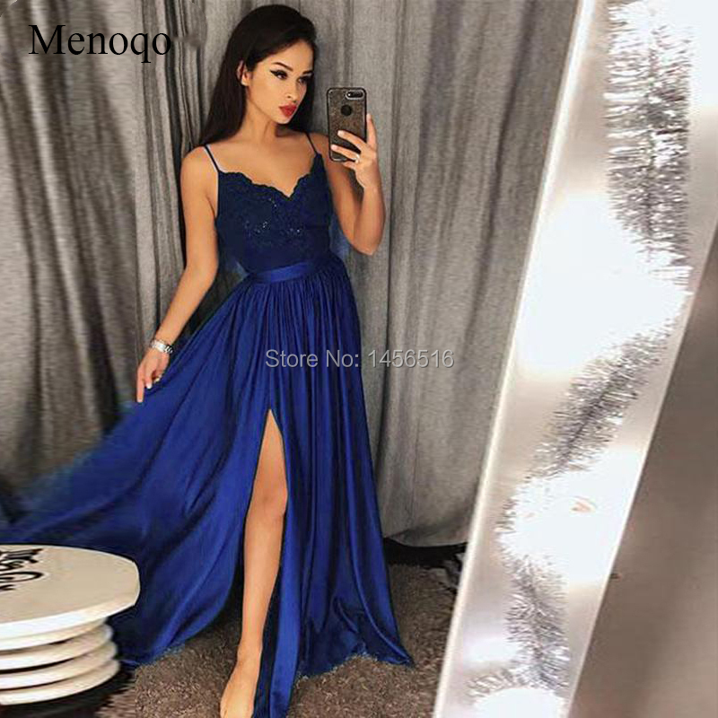 Latest Fashion Long Evening Gowns 2019 Spaghetti Straps V-Neckline Sleeveless Lace Bodice Evening Dresses With Split