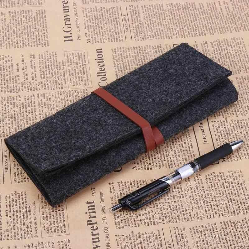 Multifungsi Pencil Case Pena Tahan Debu Kapasitas Besar Merasa Kacamata Tas Makeup Brush Tool Tas