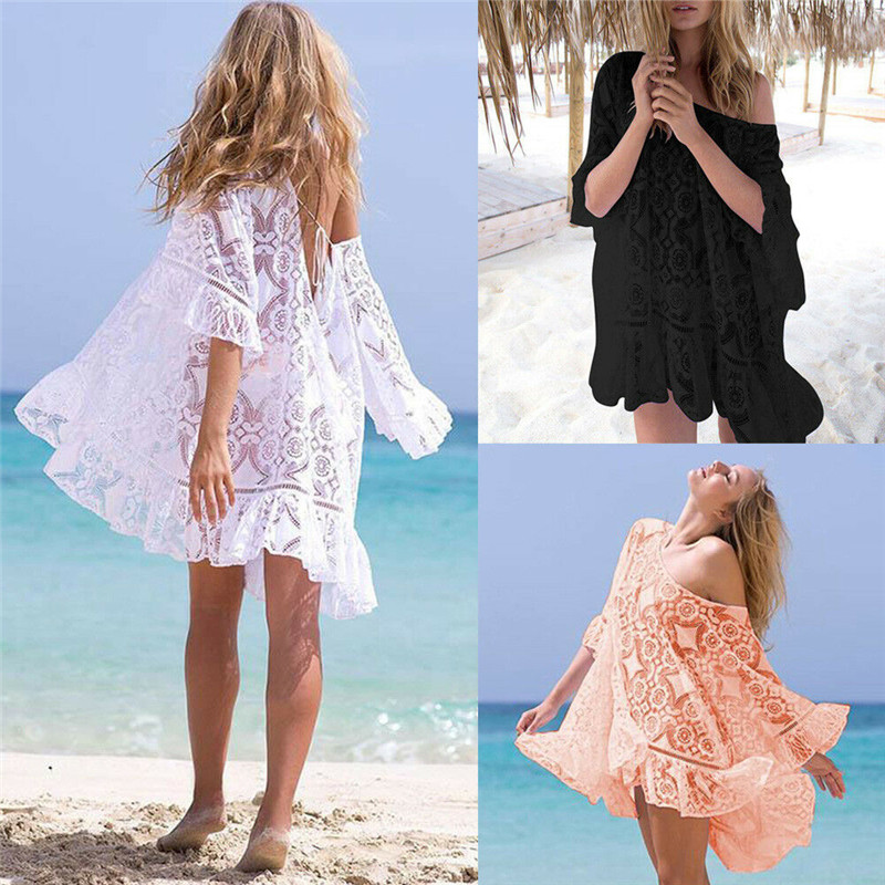 Boho Women Hollow Out Holiday Beach Dress Lace Flowers Lady Flared Sleeve Mini Dress Ruffle Off Shoulder Loose Swimwear Cover Up
