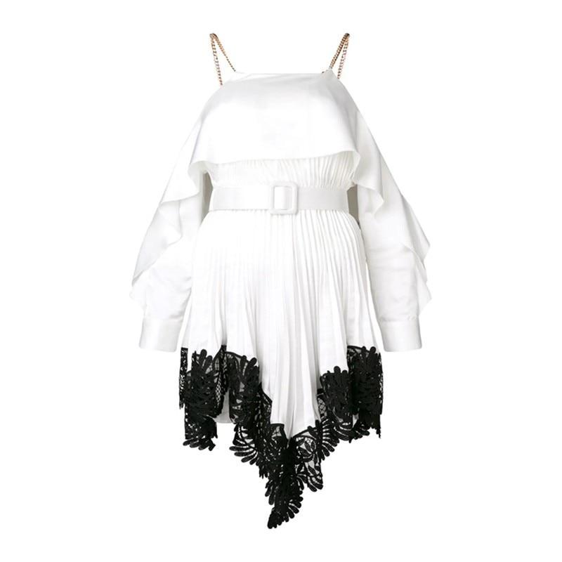 TWOTWINSTYLE Patchwork Lace Elegant Dress Female Off Shoulder Ruffled Sleeve High Waist Asymmetrical Dresses Women 2019 Spring
