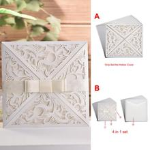 10pcs Hollow Laser Cut Wedding Invitations Card Personalized Custom With Envelope Seals Party Elegant Decoration