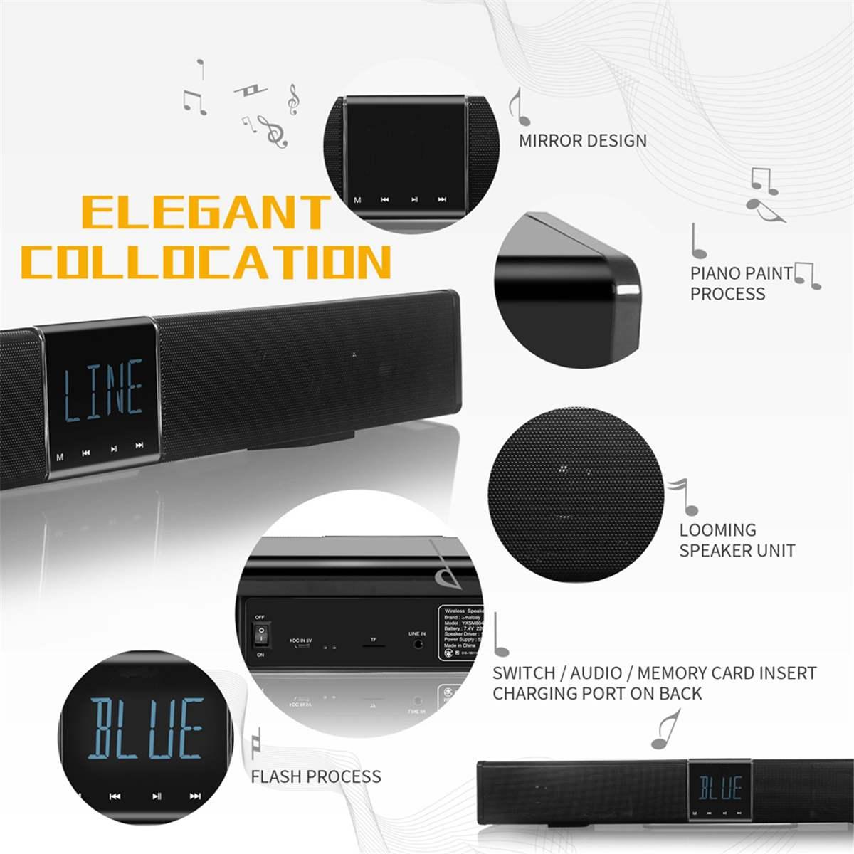 Home cinéma TV barre de son 20 W bluetooth haut-parleur 2200 Mah Portable basse sans fil Subwoofer avec télécommande LCD affichage TF AUX - 6