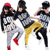 Одежда для современных джазовых танцев с блестками для мальчиков и девочек, топы, штаны, танцевальный костюм для бальных танцев в стиле хип-...