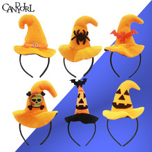 1pc Hoop Skull Hair Band Accessories Orange Halloween Bats Hairbands Clasp Demon Pumpkin Witch Hat Headband Headdress Headwear(China)