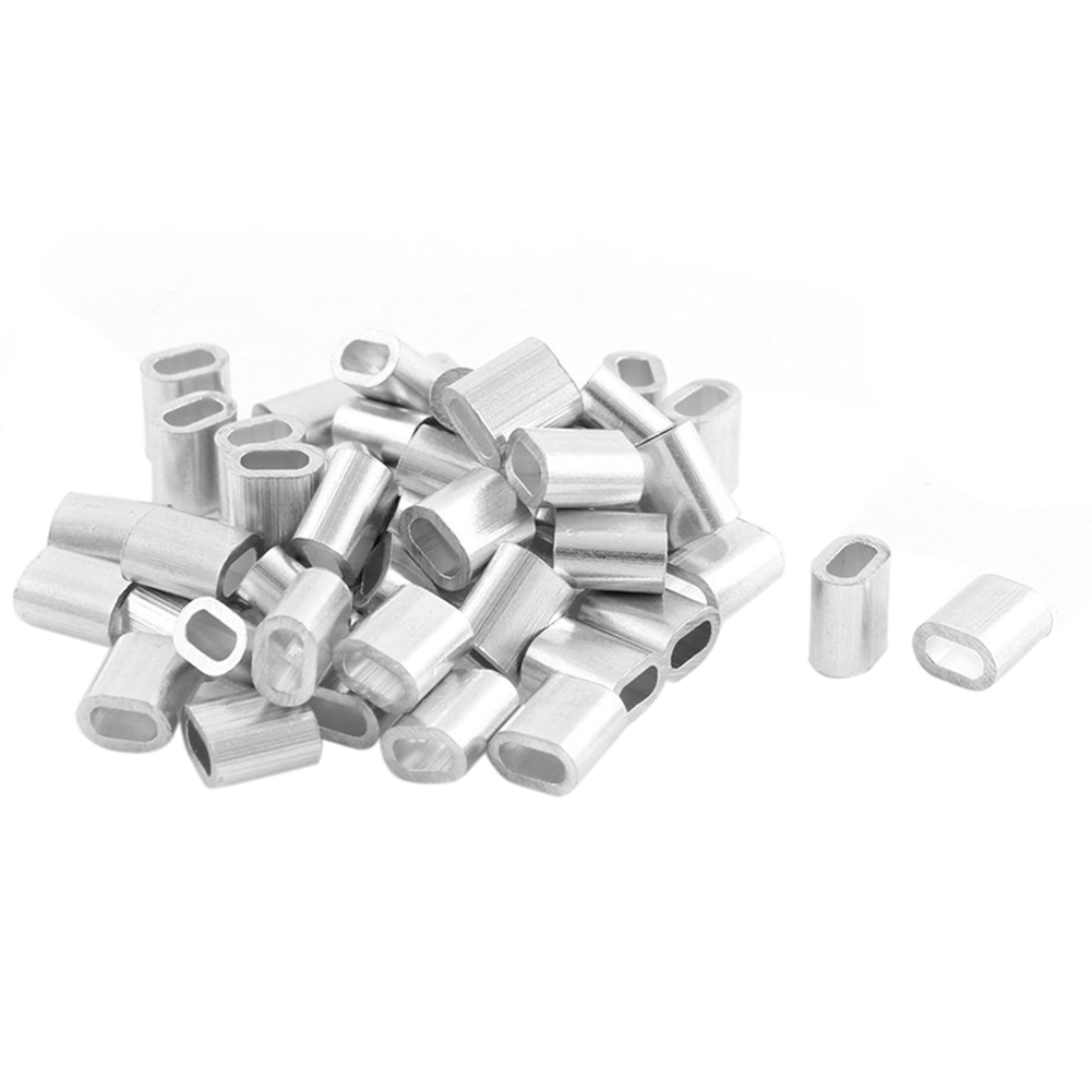 50 X Oval Aluminum H Uelsen Clamps For 2 Mm Wire Rope Press Clamp Silver Tone