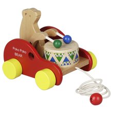 1 предмет прочный высокое качество весело деревянный барабан бьется медведь Тяговая машина обучающая развивающая игрушка для детей ясельного возраста, для детей