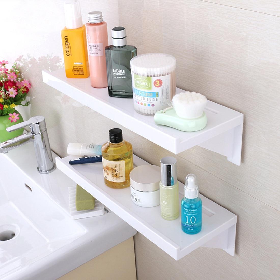 HIPSTEEN Adhesive Storage Rack Wall Shelf Sundries Holder Bathroom Organizer Hooks On The Wall Non trace Stick Type White