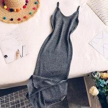 Для женщин Оболочка платье на бретелях с бахромой; Женские однотонные сексуальное платье с v-образным воротом, Вязание вечерние платье женские тонкие ботинки до середины икры Платья Vestidos