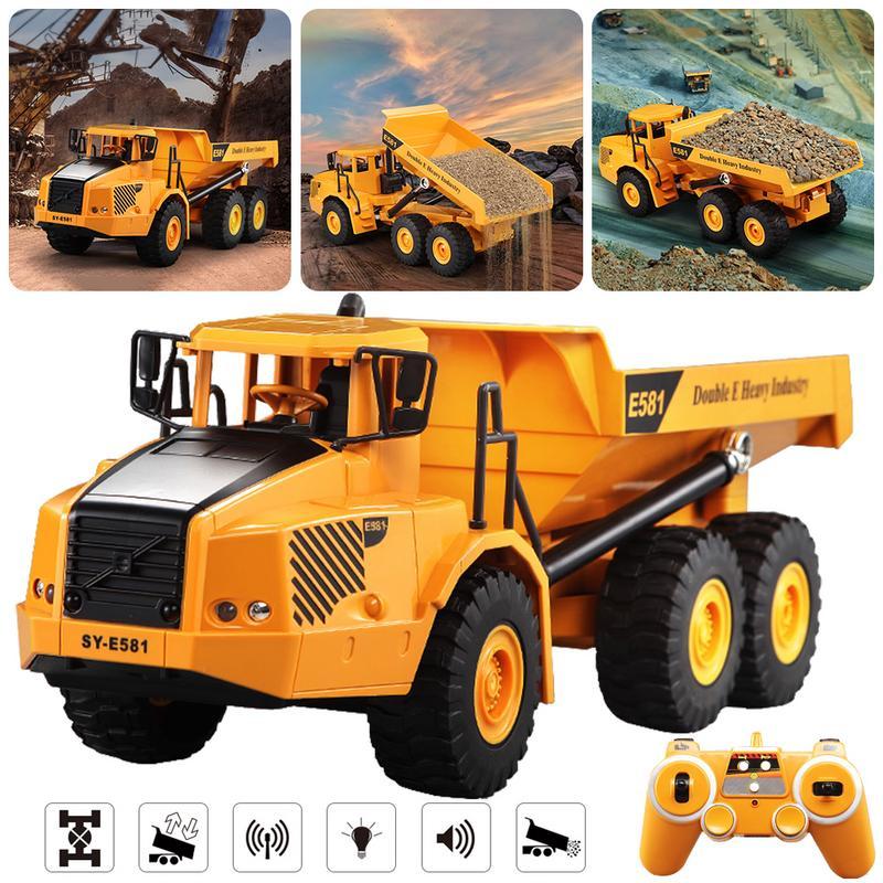 Modèle de voiture jouet-grand camion à benne basculante articulé télécommandé modèle de transport ingénierie de voiture grand camion benne basculante voiture