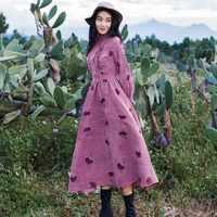 コーデュロイドレス 2019 春の女性は襟ヴィンテージドレスのファッション立体刺繍の花ビッグスイング甘いドレス