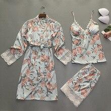 2019 ฤดูร้อนผู้หญิงชุดนอนชุด 3 ชิ้นพร้อมหน้าอก Pads ดอกไม้พิมพ์ลูกไม้ชุดนอนซาตินชุดนอนผ้าไหมชุดนอน Pijama